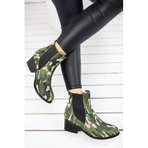 Charis Green Camouflage Boots