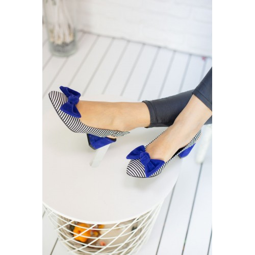Alins Sax Blue Bow Heeled Shoes