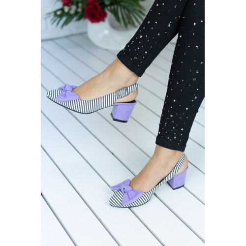 Alins Lilac Bow Heeled Shoes