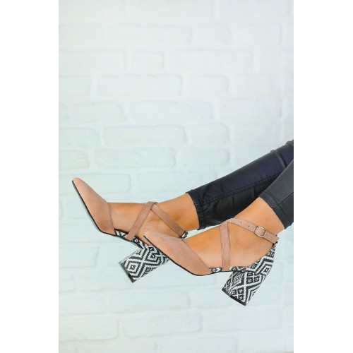 Caresse Powder Suede Patterned Heeled Shoes
