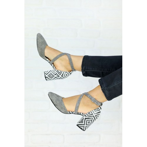 Caresse Gray Suede Patterned Heeled Shoes
