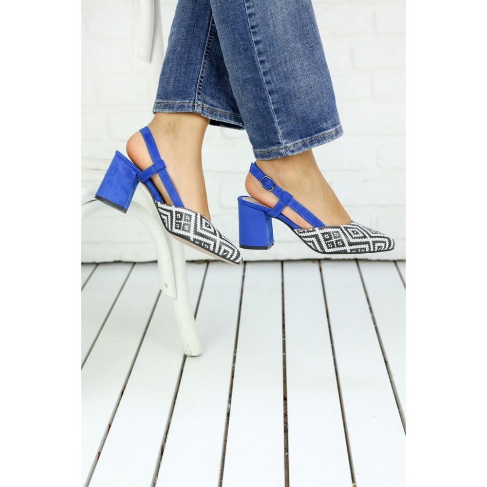 f5442ae430c32 Passionis Sax Blue Patterned Heeled Shoes
