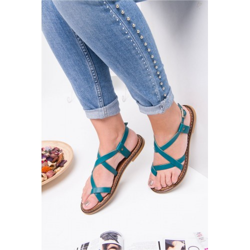 Agnes Sax Blue Leather Sandals