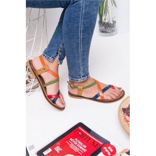 Agnes Taba Colored Leather Sandals