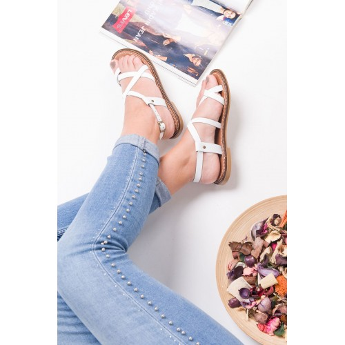 Agnes White Leather Sandals