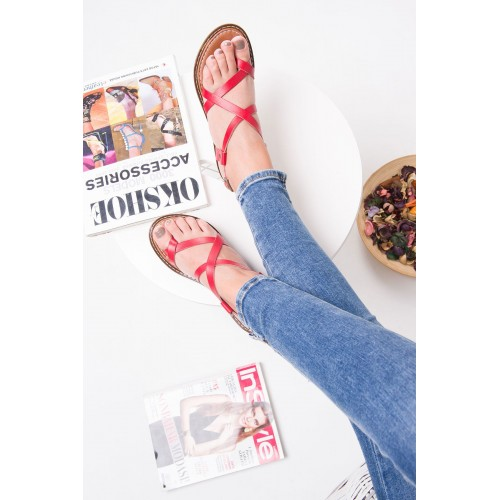Agnes Red Leather Sandals