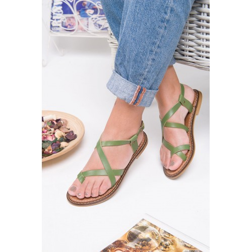 Agnes Green Leather Sandals