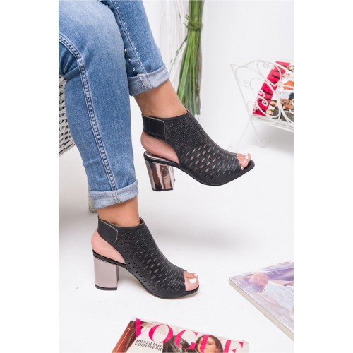 Allarie Black Heeled Shoes