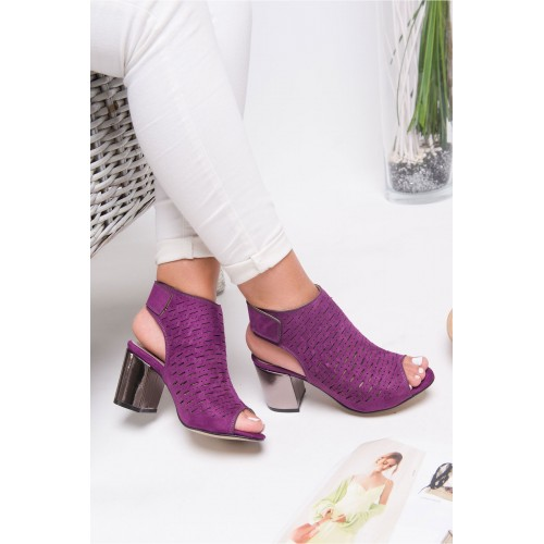 Allarie Purple Suede Heeled Shoes