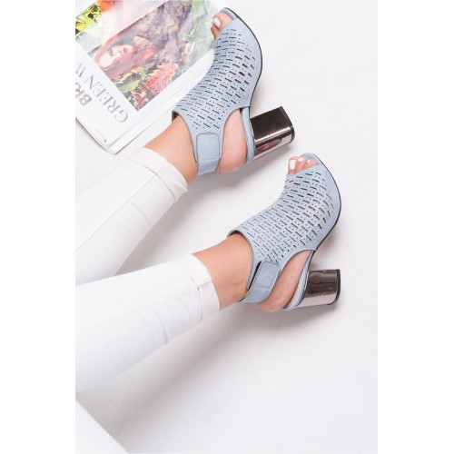 Allarie Baby Blue Heeled Shoes