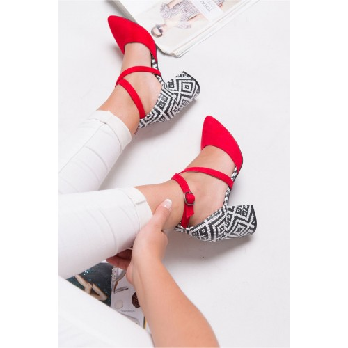 Caresse Red Suede Patterned Heeled Shoes
