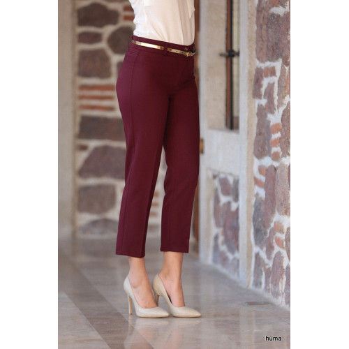 Plus Size Burgundy Wrist Pants