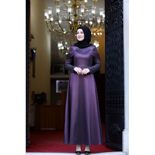 Eva Purple Evening Dress - Amine Huma