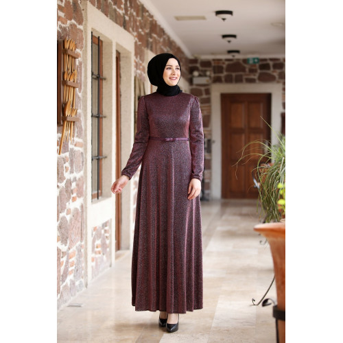 Amine Hüma - Diamond Burgundy Evening Dress