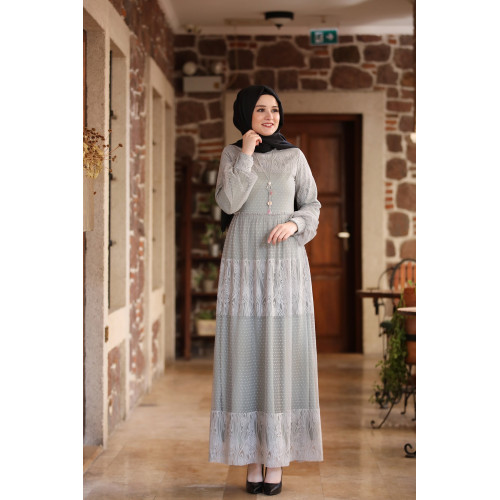 Deniz Hijab Dress - Gray