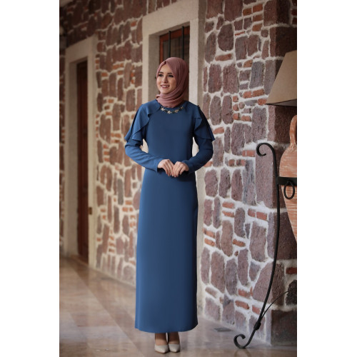 Ahenk Oil Blue Hijab Dress - Amine Hüma